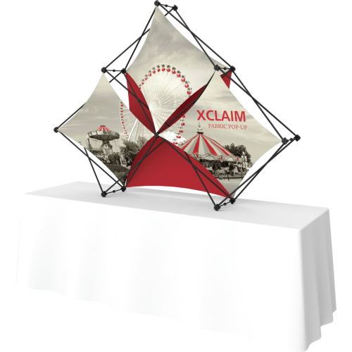 Xclaim 8ft Tabletop 3 Quad Pyramid Fabric Popup Display Kit 02